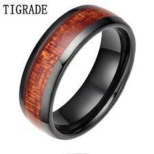 ceramic rings images Tigrade 8mm black red wood grain ceramic ring men wedding band jpg
