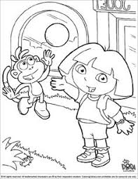 dora boots lose object coloring pages dora