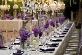 Purple Centerpieces Crystal Chandeliers And Beautiful Purple Centerpieces