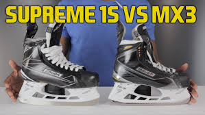 bauer supreme 1s hockey skate vs mx3 skates review youtube