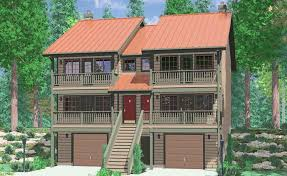 duplex house plans multiple front decks for spectacular views