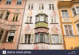 Painted Houses Painted Houses In The Old Town Of Bozen Bolzano Trentino Italy