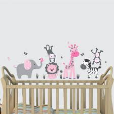 Animal Wall Decals For Nursery Teal And Green Jungle Wall For Nursery With Giraffe Stickers