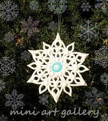 snowflake ornament handmade polymer clay by artsistafotini