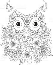 flowers owl coloring page antistress stock vector art 621850592