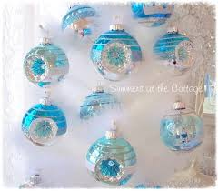 aqua blue glass tree ornament white frosted design