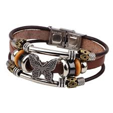 leather bracelet jewelry images Butterfly leather bracelet spicy deals jpg