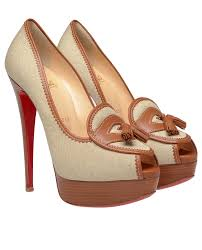 christian louboutin campus canvas platform pumps in natural lyst