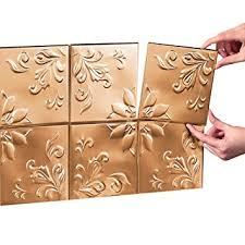 copper kitchen backsplash tiles tin peel stick raised floral pattern backsplash