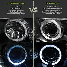 for 96 00 dodge grand caravan halo led projector headlights blk