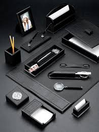 Desk Sets And Accessories Croco Black Leather Desk Pad Set