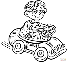 little boy driving a toy car coloring page free printable