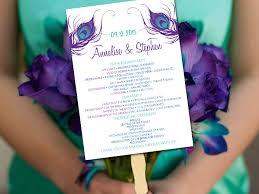 sided wedding programs single sided wedding program fan template peacock ceremony