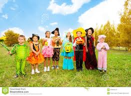 children halloween costumes kids with halloween costumes stand in row stock photo image
