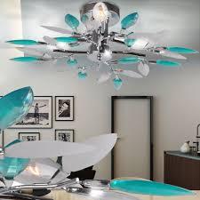 Wohnzimmer Lampe Energiesparlampe Deckenleuchte Mit Acrylblättern In Türkis Lampen U0026 Möbel
