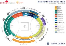 Stadium Floor Plan by Seating Maps Geelong Cats