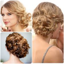 curly side updo hairstyles bridal side swept bun updo wedding