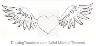 pencil drawings of hearts with wings and banners free download
