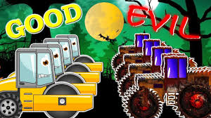 road roller war w small car good vs evil scary heavy vehicles