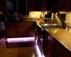 rgb light strips line cabinets for accent lighting