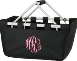 monogrammed basket collapsible tote etsy