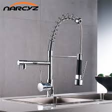 spring pull down kitchen faucet chrome spring pull down kitchen faucet dual spouts 360 swivel