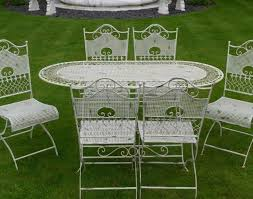 Garden Patio Table Bench Shabby Chic White Wrought Iron Metal Garden Furniture