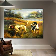 compare prices on hunting dog art online shopping buy low price qk art frameless wall art dogs hunting farm oil painting on canvas picture wall paintings for