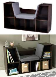 Kidkraft Bookcase Kids Bookcase With Reading Nook Cushion White Wooden Toy Organizer