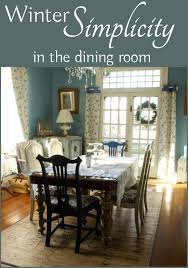 simplified winter decor in the dining room