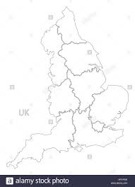 england outline silhouette map illustration with counties stock