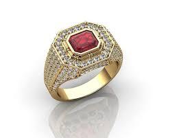 gold rings for men ruby yellow gold rings for men 3d print model cgtrader