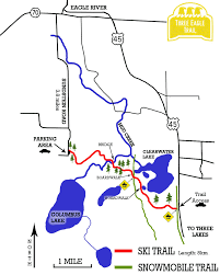 Wisconsin Lake Maps Three Eagle Trail Cross Country Ski Map Cross Country Skiing