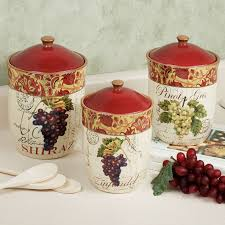 grape canister sets kitchen handpainted grapes kitchen canister set canisters