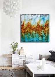 abstract painting shades of blue with silver effect water colour