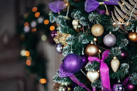 plum coloured decorations lights card and decore