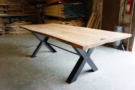 X Leg Dining Table Live Edge Dining Table Moss Architecture