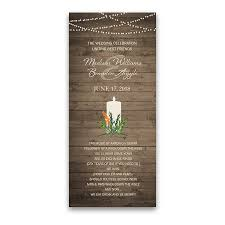 winter wedding programs greenery wedding program on barn wood with string lights