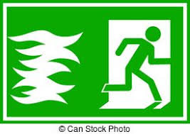 in case of fire use stairway for exit sign vector symbol