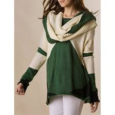 green sweaters trendy style scoop collar sleeve color block with scarf