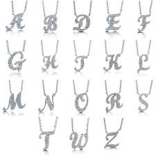 silver letter necklace pendants images Sterling silver cubic zirconia cz initial letter fashion pendant n103 jpg