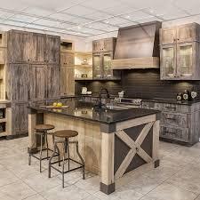 armoire de cuisine rustique cuisine rustique chic en mélamine egger avec comptoir de quartz