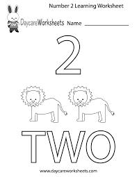 free preschool number two learning worksheet
