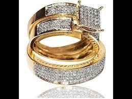 wedding trio sets engagement rings 1ct diamond yellow gold trio wedding set