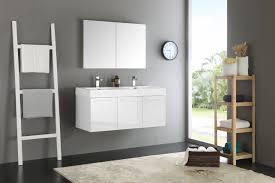 mezzo 48 inch white wall mounted double sink modern bathroom vanity