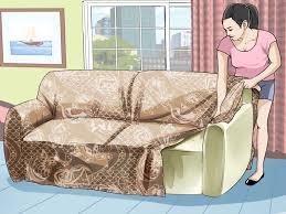 sofa beziehen ein sofa mit einem sofaüberzug beziehen wikihow