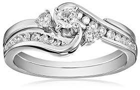 interlocking engagement ring wedding band igi certified 14k white gold interlocking diamond bypass bridal