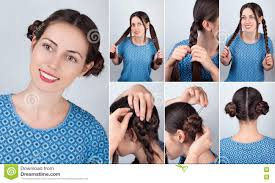 braided bun hairdo for long hair tutorial stock photo image