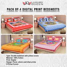 what is the best material for bed sheets buy pack of 4 digital print bedsheets 4ddbs1 online at best price
