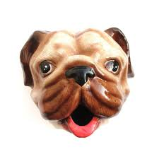 pug puppy animal head faux taxidermy wall mount tissue paper